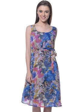 Meira Chiffon Printed Dress - Multicolor - MEWT-1022-W-Multi