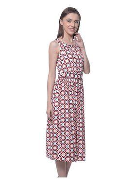 Meira Poly Crepe Printed Dress - Multicolor - MEWT-1169-E-Multi