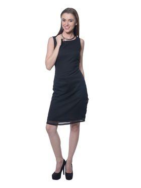 Meira Chiffon Plain Dress - Black - MEWT-1180-E-Black