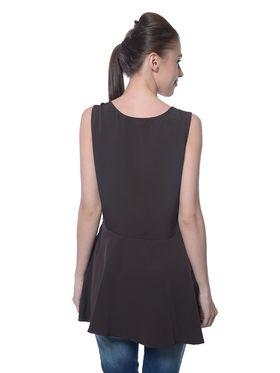 Meira Poly Crepe Plain Dress - Brown - MEWT-1200-Brown