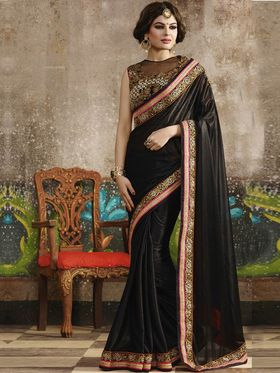 Zoom Fabrics Net Embroidered Saree -N1602