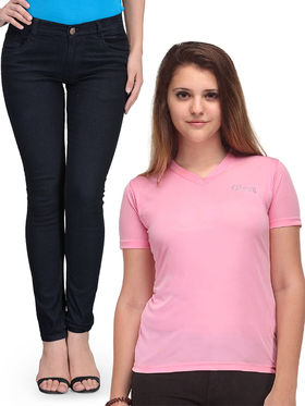 Oleva Combo Of  2  Black Denim And Pink T-Shirt  ONC-02
