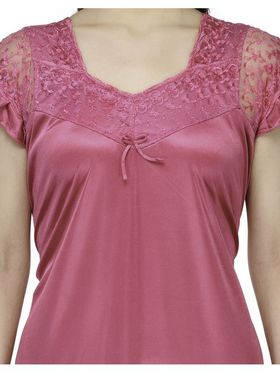 Oleva Satin Plain Nightwear - Pink-ONW_2_1001_PINK