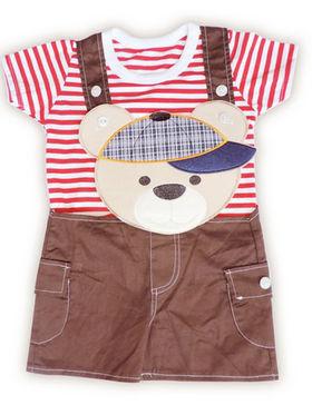 Ole Baby Premium Cotton Teddy Embroidery Dungree Set_OB-TDDG-300