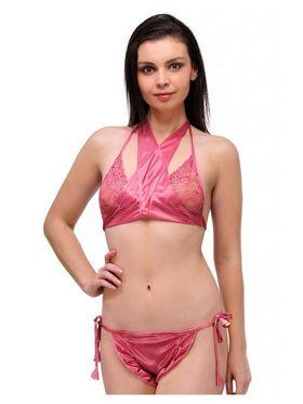 Oleva Satin Plain Bikini Set - Dark Pink