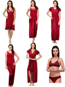 Set of 7 Oleva Satin Nightwear - Maroon