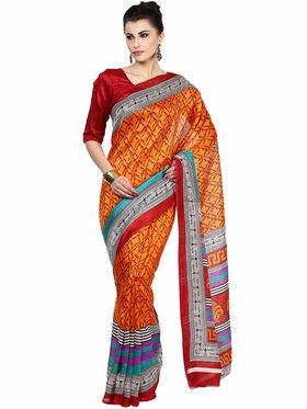 Triveni's Art Silk Printed Saree -PTSRISB604BA