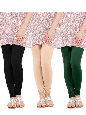 Pack of 3 Oh Fish Solid Cotton Stretchable Leggings -zwe71