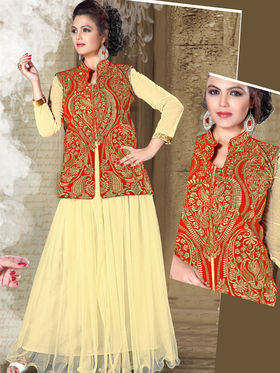 Viva N Diva Net Floral Embroidery Gowns -Purvi-3015