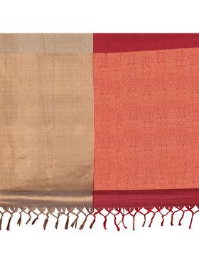 Nanda Silk Mills Handloom Maroon & Gold Plain Cotton Silk Saree -nad06