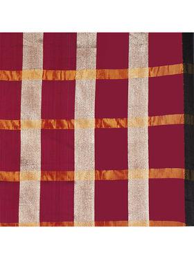 Nanda Silk Mills Handloom Pink & Gold Plain Cotton Silk Saree -nad13