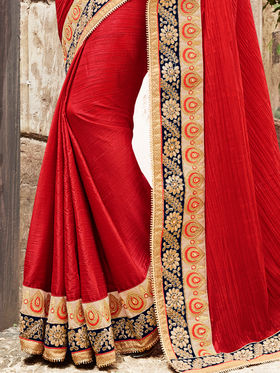 Indian Women Embroidered Paper Silk Red Saree -Ra21023