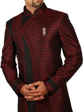 Runako Regular Fit Elegant Silk Brocade Sherwani For Men - Maroon & Black