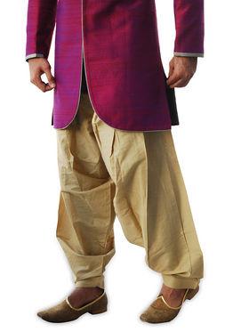Runako Regular Fit Elegant Silk Brocade Sherwani For Men - Fuchsia