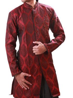 Runako Regular Fit Elegant Silk Brocade Sherwani For Men - Maroon_RK1050