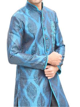 Runako Regular Fit Elegant Silk Brocade Sherwani For Men - Blue_RK1051