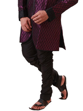 Runako Regular Fit Elegant Silk Brocade Sherwani For Men - Purple_RK1063