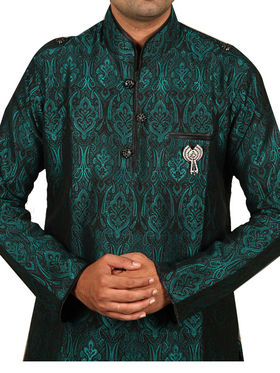 Runako Regular Fit Silk Brocade Kurta Pyjama For Men - Green_RK4024