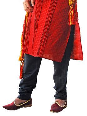 Runako Regular Fit Silk Brocade Kurta Pyjama For Men - Red_RK4036