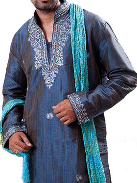 Runako Regular Fit Silk Brocade Kurta Pyjama For Men - Dark Blue