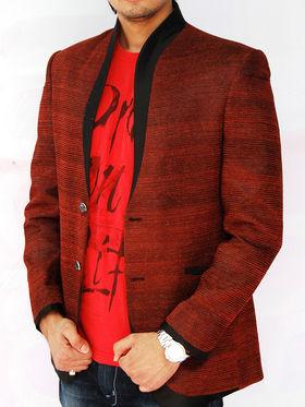 Runako Solid Regular Full sleeves Semi Formal Blazer For Men - Maroon