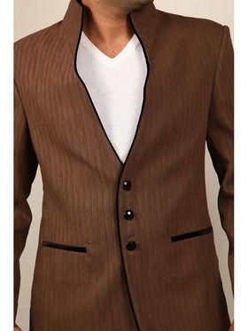 Runako Solid Regular Full sleeves Semi Formal Blazer For Men - Brown