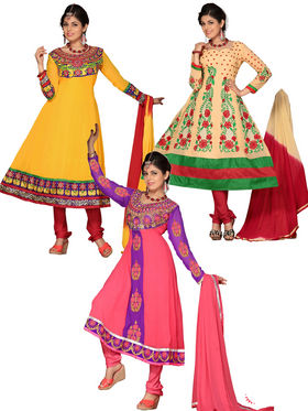 Pack of 3 in 1 Florence Georgette Embroidered Anarkali Dress Material - Multicolour