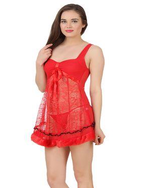 Fasense Power Net Solid Nightwear Babydoll Slip -SS079D2