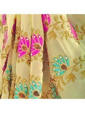 Khushali Fashion Embroidered Georgette Half & Half Saree_KF58