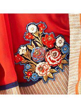 Khushali Fashion Embroidered Georgette Half & Half Saree_KF60