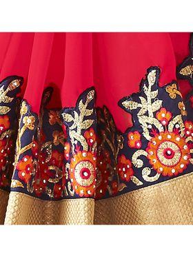 Khushali Fashion Embroidered Georgette Half & Half Saree_KF62