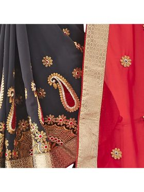Khushali Fashion Embroidered Georgette Half & Half Saree_KF66