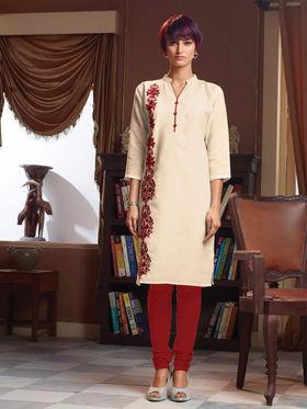 Viva N Diva Poly Linen Floral Embroidery Kurtis -Senorita-Again-7550