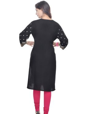Shop Rajasthan 100% Pure Cotton Printed Kurti - Black - SRE2256