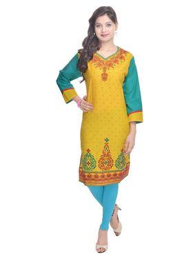 Shop Rajasthan 100% Pure Cotton Printed Kurti - Yellow - SRE2260