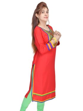 Shop Rajasthan 100% Pure Cotton Embroidered Kurti - Red - SRE2262