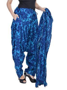 Shop Rajasthan 100% Pure Cotton Floral Print Patiala Salwar - Blue - SRI2047