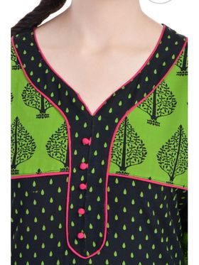 Shop Rajasthan 100% Pure Cotton Printed Kurti - Green - SRE2314