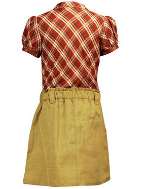 ShopperTree Brown check Skirt With Top Set_ST-1376