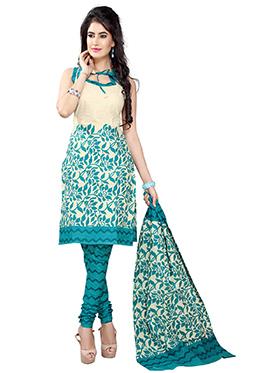 Silkbazar Printed Cotton Dress Material - Teal