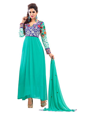 Silkbazar Embroidered Pure Georgette A-Line Semi-Stitched Dress Material - Green-SB-1354