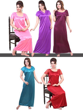5 Designer Polysatin Nighty Set