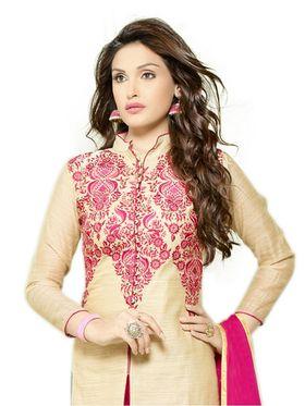 Thankar Embroidered Chanderi Cotton Semi-Stitched Suit� -Tas332-3154