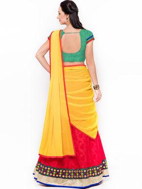 Triveni Charming Red Art Silk Semi Stitched Lehenga Choli_Ts13254