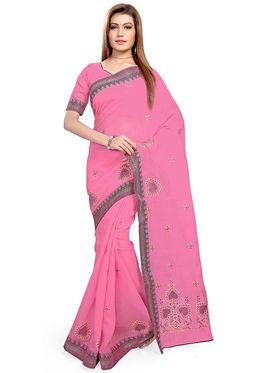 Triveni's Blended Cotton Embroidered Saree -TSMRCCPI4001