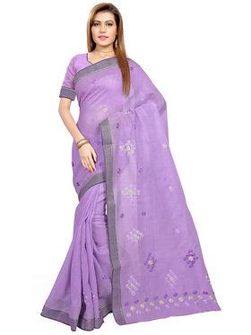 Triveni's Blended Cotton Embroidered Saree -TSMRCCPI4011