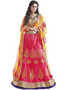 Triveni Embroidered Satin & Net Pink Lehenga Choli-TSN82015