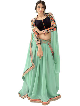 Triveni's Shimmer  Georgette Border Work Saree -TSN84021