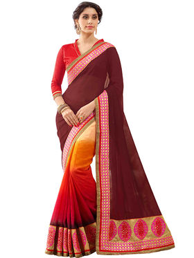 Triveni's  Georgette Border Work Saree -TSN87032B