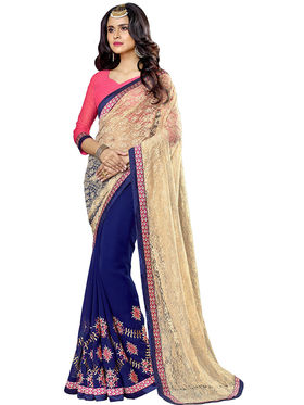 Triveni's  Georgette Net Embroidered Saree -TSNJU102
